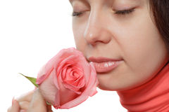 The woman with a rose closeup Royalty Free Stock Image