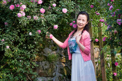 Woman in rose garden Royalty Free Stock Photography