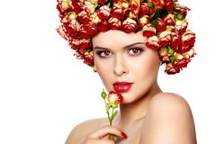 Woman with rose in hair Royalty Free Stock Photography