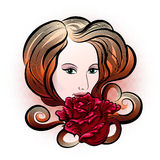 Woman with rose. Illustration with young woman face and rose flower drawn in handmade ink style vector illustration