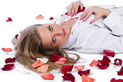 Woman with rose-petal Royalty Free Stock Photo