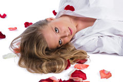 Woman with rose-petal royalty free stock image
