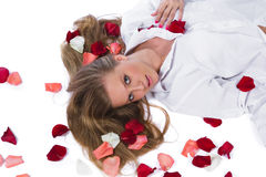 Woman with rose-petal stock image