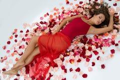 Woman And Rose Petals Royalty Free Stock Photo