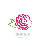 Woman with rose petals in hair. Vector beauty floral logo. Stock Photo