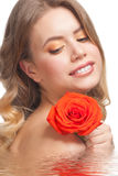 Woman with rose Royalty Free Stock Photos