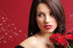Woman with rose on red background Royalty Free Stock Images