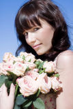 Woman In A Rose Romance Royalty Free Stock Photos