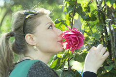 Woman and rose Royalty Free Stock Image