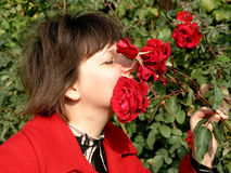 Woman and roses Royalty Free Stock Photo
