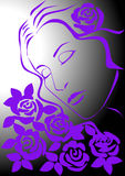 Woman with roses. Woman inhales scent of roses. Vector image Stock Photos
