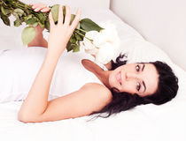 Woman with roses Stock Image