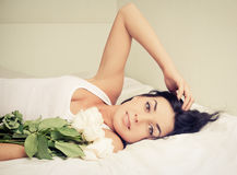 Woman with roses Royalty Free Stock Photos