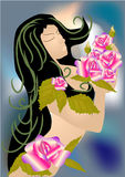 Woman and roses Royalty Free Stock Photos