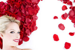 Woman in roses Royalty Free Stock Photos