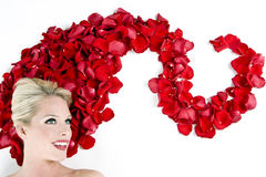 Woman in roses Stock Photo
