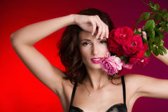 Woman with roses Royalty Free Stock Image