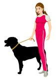 Woman and The Rottweiller Royalty Free Stock Images