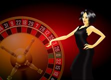 Woman and roulette wheel. Illustration of woman in black dress by a roulette wheel Stock Photo