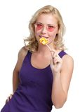 Woman with round lollypop Stock Image