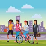 Woman daily routine. With basket ball bicicle briefcase cityscape vector illustration graphic design vector illustration graphic design royalty free illustration