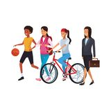 Woman daily routine. With basket ball bicicle briefcase vector illustration graphic design vector illustration graphic design vector illustration