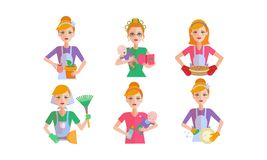 Woman daily routine set, ousewife cleaning and housekeeping vector Illustration on a white background royalty free illustration