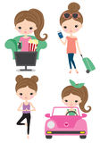 Woman Daily Routine Watching TV Yoga Travel Driving Set. Vector of woman life activity including watching tv, traveling, doing yoga, and driving stock illustration