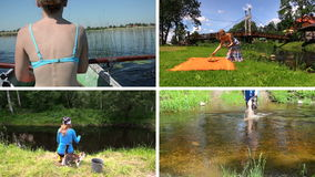 Woman row boat, make picnic and fishing. Clips collage. stock footage