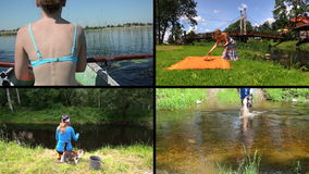 Woman row boat, make picnic and fishing. Video clips collage. stock footage