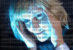 Woman and rows of digits Royalty Free Stock Image