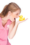 Woman with rubber duck Royalty Free Stock Photos