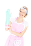Woman and rubber gloves Royalty Free Stock Photos
