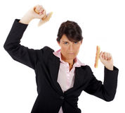 Woman with rubber stamps Royalty Free Stock Photos