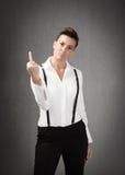 Woman rude gesture Stock Photo