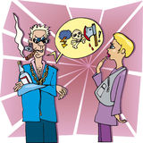 Woman and rude man. Cartoon illustration of rude man and surprised woman Royalty Free Stock Images