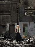 Woman in the Ruins stock photography