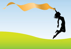 Woman run jump hold banner earth sky Stock Photos