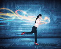 Woman Run With Laptop Royalty Free Stock Image