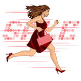 Woman run to sale Stock Photography