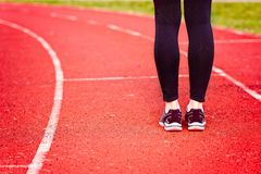Woman run training outdoors. Royalty Free Stock Images
