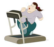 Woman runing on treadmill. Illustration of an overweight woman running on treadmill Stock Photography