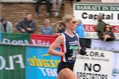 Woman Runner. Woman Running in the London Flora Marathon 2008 Stock Image