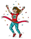 Woman runner cross the finish line. Cartoon style. Marathon. Woman runner cross the finish line. Girls power. Do it. Cartoon style. Marathon. Vector Royalty Free Stock Photos