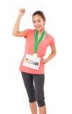 Woman Runner Got Medal. Royalty Free Stock Photo