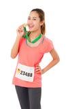 Woman Runner Got Medal. Royalty Free Stock Photos