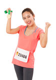 Woman Runner Got Medal. Royalty Free Stock Photography