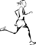 Woman Runner. Illustration of a woman running track or marathon Royalty Free Stock Images
