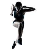 Woman runner jogger jumping Royalty Free Stock Photo