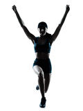 Woman runner jogger jumping happy Stock Images